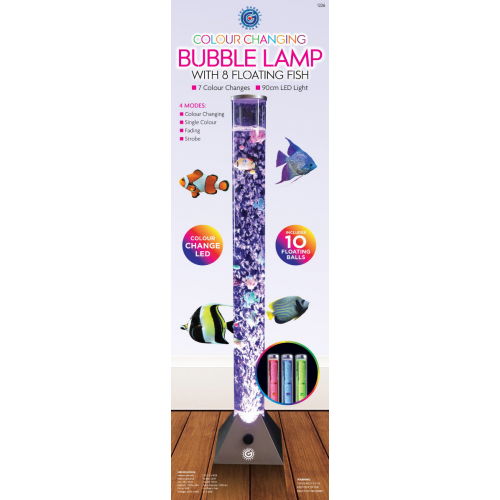 Color Changing Bubble Lamp With Floating Fishes (DG1226)