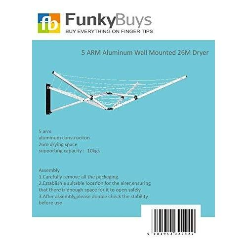 FB FunkyBuys 26M Deluxe Wall Mounted Rotary Airer