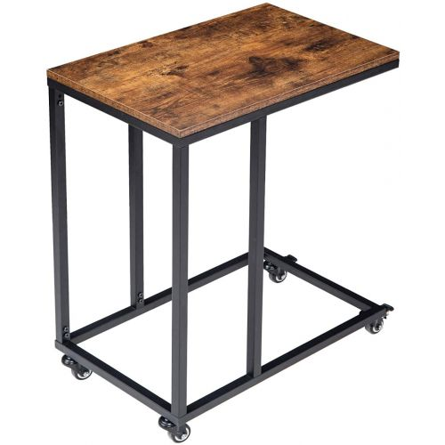 Side Table with Wheel Rustic Brown