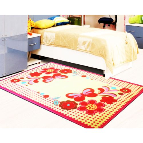 Kids Rug - Pink Flowers/Butterfly 100 x 133cm