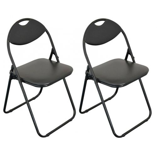 Folding Chair Faux Leather-Black  SI-HH1038